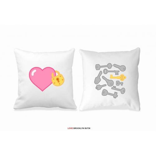 Poduszki druk dla par 2 szt. HEART & KEYS