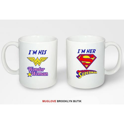 Kubki z nadrukiem 2 sztuki WONDER WOMAN & SUPERMAN