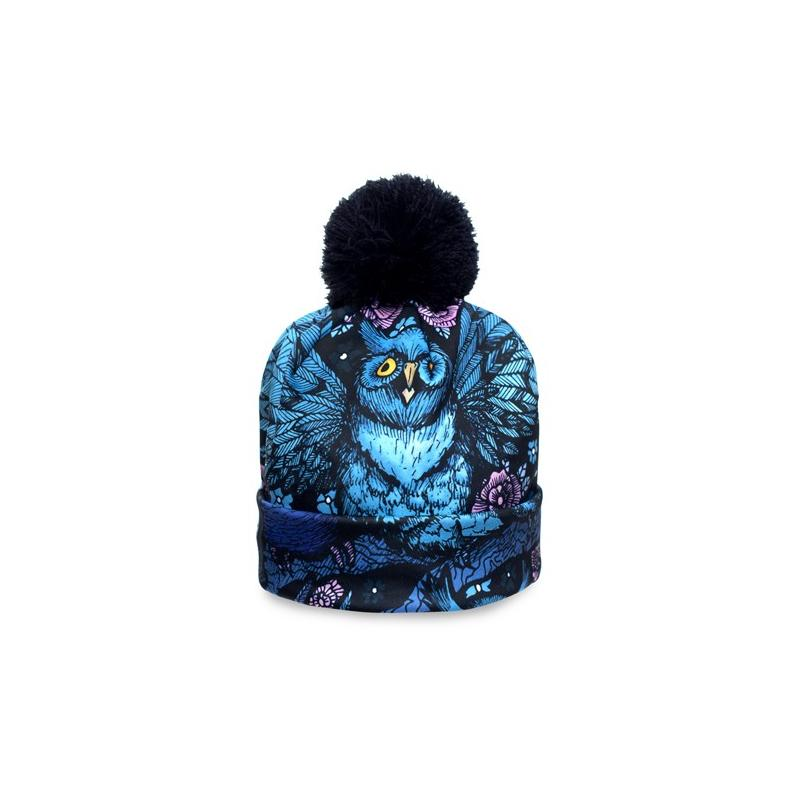 CZAPKA pompon fullprint OWL NIGHT