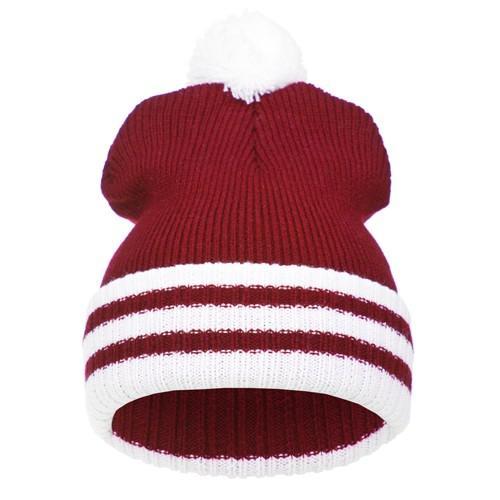 czapka POMPON PASKI /czerwony+biały/