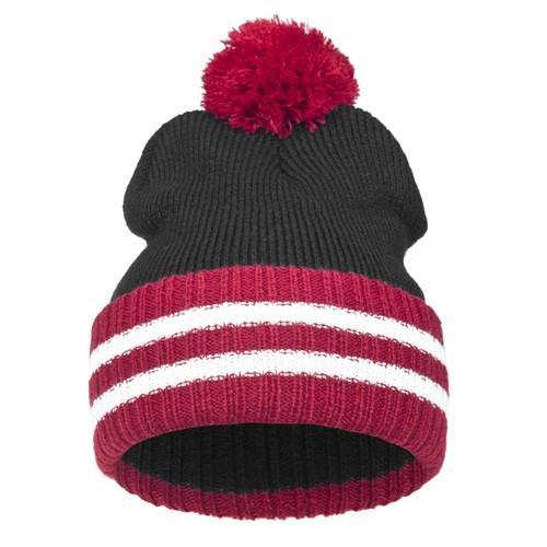 czapka POMPON PASKI /czarny+czerwony/