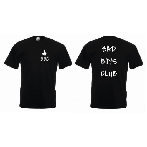 T-shirt oversize BAD BOYS CLUB tył&przód SZARY
