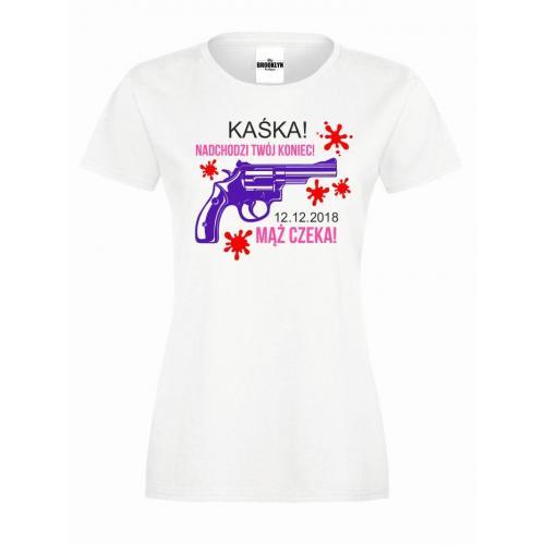 T-shirt lady DTG MĄŻ CZEKA (własne napisy)