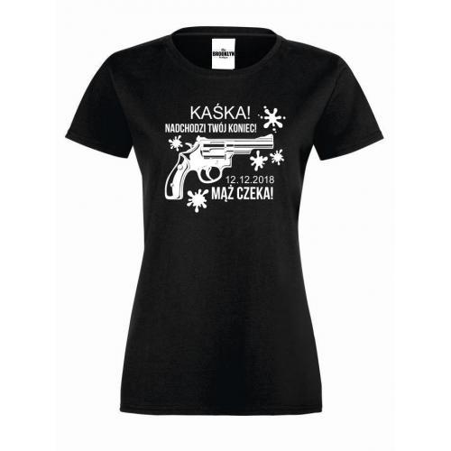 T-shirt lady MĄŻ CZEKA (własne napisy)