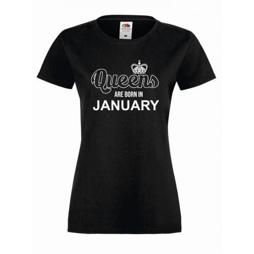 T-shirt lady QUEENS ARE BORN IN JANUARY  (OUTLET)
