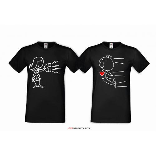 T-shirt DLA PAR 2 SZT MOJA babeczka MOJA ciacho napis z przodu