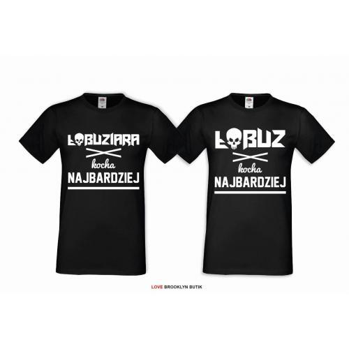 T-shirt DLA PAR 2 SZT - ŁOBUZY napis z przodu GOLD