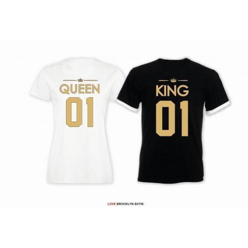 T-shirt DLA PAR 2 SZT QUEEN 01 & KING 01 napis z tyłu LADY FIT DLA NIEJ & OVERSIZE DLA NIEGO