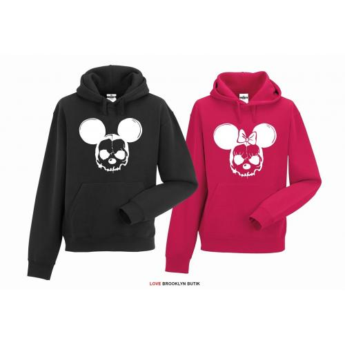 bluza z kapturem dla par Minnie & Mickey Scary
