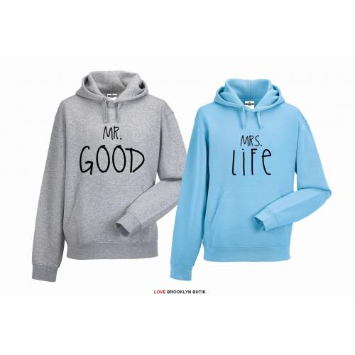bluza z kapturem dla par Mrs. Life & Mr. Good