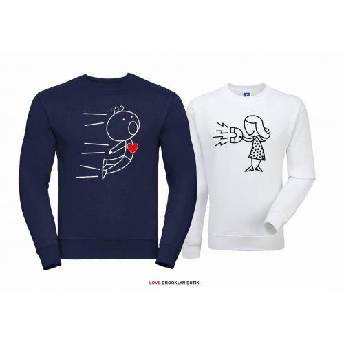 Bluza dla par ATTRACTION czarny - fuksja