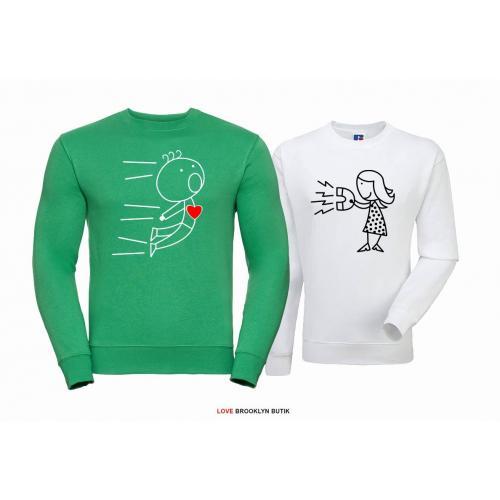 Bluza dla par ATTRACTION zielony - biały