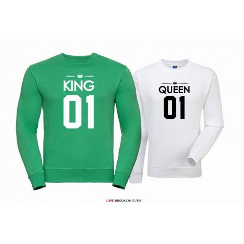 Bluza dla par Queen 01 & King 01 zielony - biały