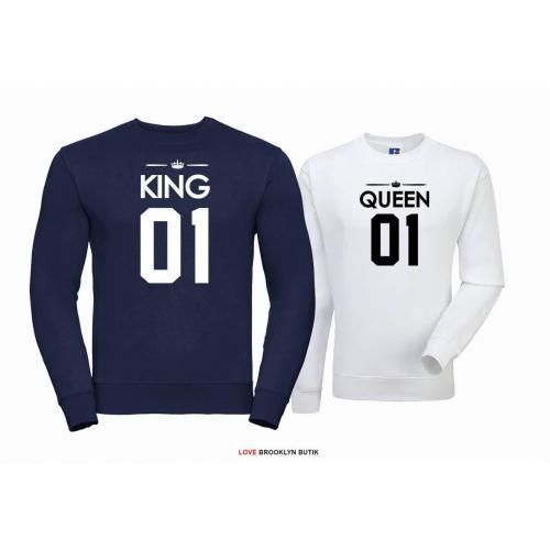 Bluza dla par Queen 01 & King 01 czarny - burgund