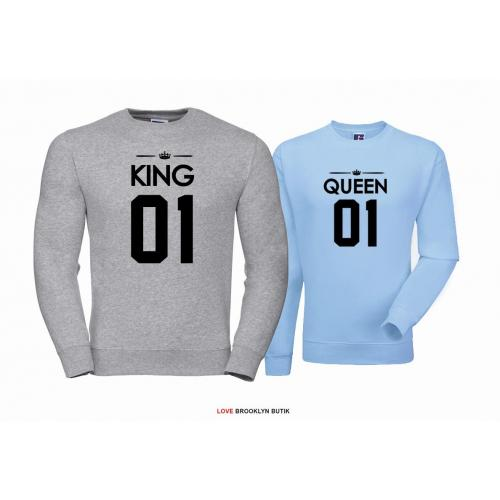 Bluza dla par Queen 01 & King 01 szary - błękitny