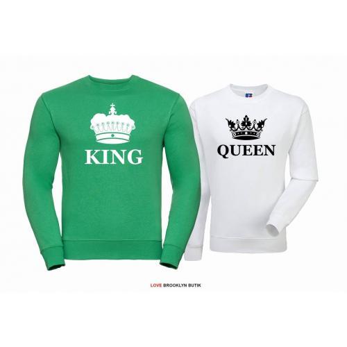 Bluza dla par Queen & King Corone zielony - biały