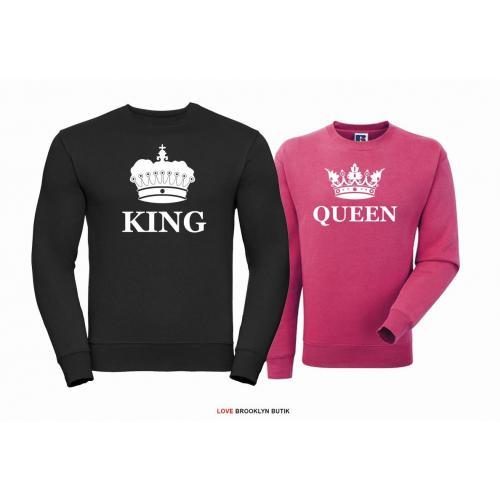Bluza dla par Queen & King Corone czarny - fuksja