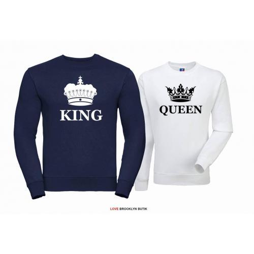 Bluza dla par Queen & King Corone granat-biały