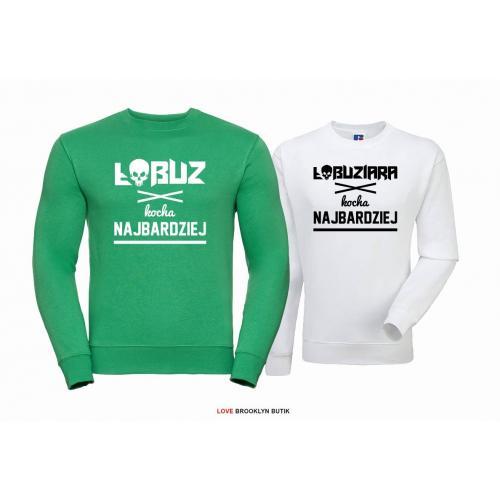 Bluza dla par Łobuz & Łobuziara zielony-biały