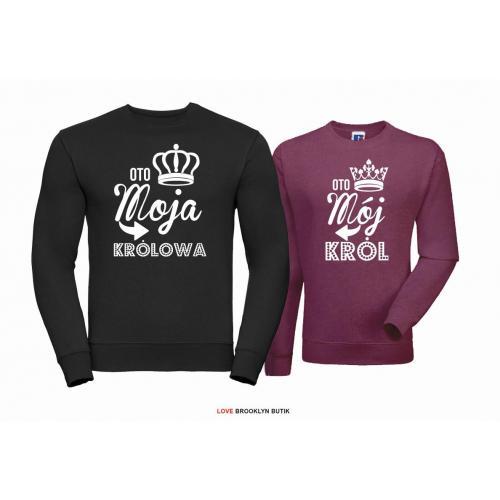 Bluza dla par Król & Królowa czarny-burgund