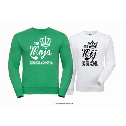 Bluza dla par Król & Królowa zielony-biały
