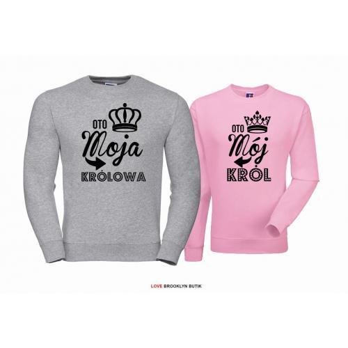 Bluza dla par Król & Królowa szary-pudrowy róż