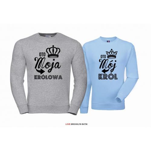 Bluza dla par Król & Królowa szary-błękitny