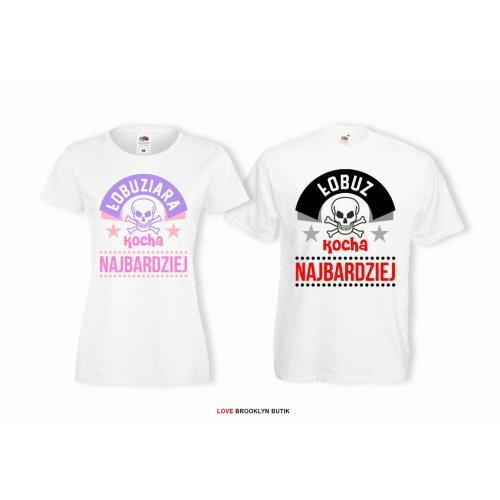 T-shirt DLA PAR 2 SZT ŁOBUZY napis z przodu LADY FIT DLA NIEJ & OVERSIZE DLA NIEGO