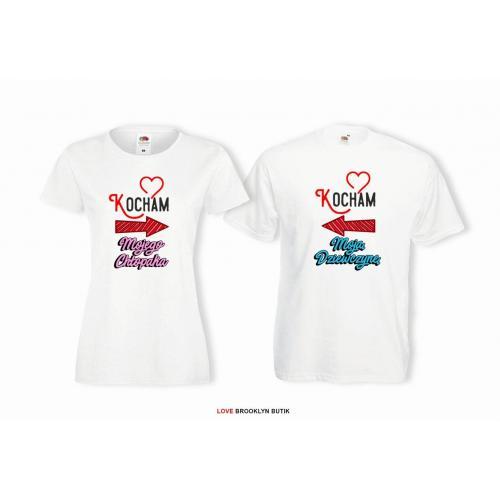 T-shirt lady i oversize DLA PAR 2 SZT KOCHAM MOJĄ & MOJEGO