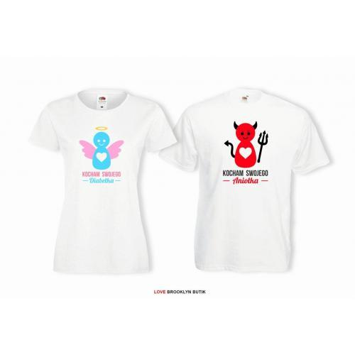 T-shirt lady i oversize DLA PAR 2 SZT KOCHAM SWOJEGO DIABEŁKA & ANIOŁKA