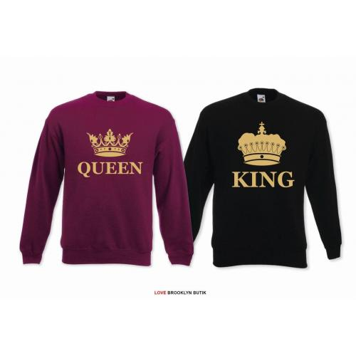 Bluzy dla par Queen & King corone gold