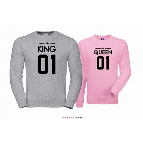 Bluza dla par Queen 01 & King 01 szary - pudrowy róż