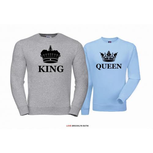 Bluza dla par Queen & King Corone szary - błękitny