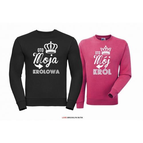 Bluza dla par Król & Królowa czarny-fuksja
