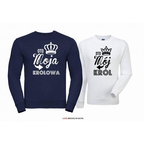 Bluza dla par Król & Królowa granat-biały