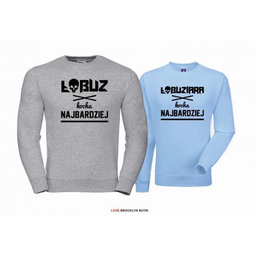 Bluza dla par Łobuz & Łobuziara szary - błękitny