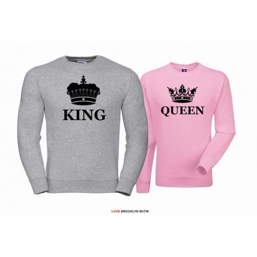 Bluza dla par Queen & King Corone szary - pudrowy róż