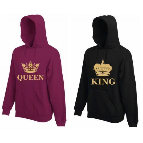 Bluza z kapturem DLA PAR 2 SZT QUEEN & KING GOLD