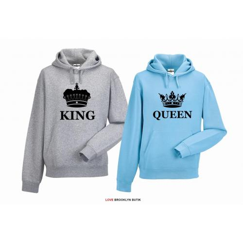 bluza z kapturem dla par Queen & King Corone