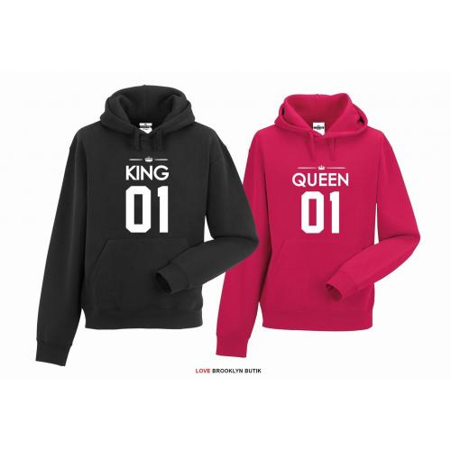 bluza z kapturem dla par Queen 01 & King 01
