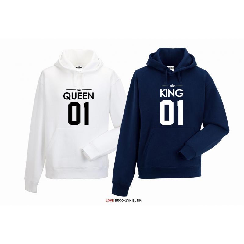 bluza z kapturem dla par Queen 01 & King 01