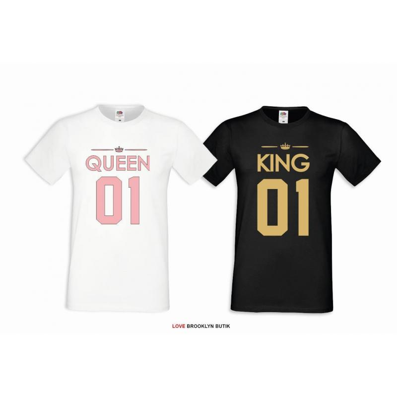 T-shirt DLA PAR 2 SZT QUEEN PINK & KING GOLD