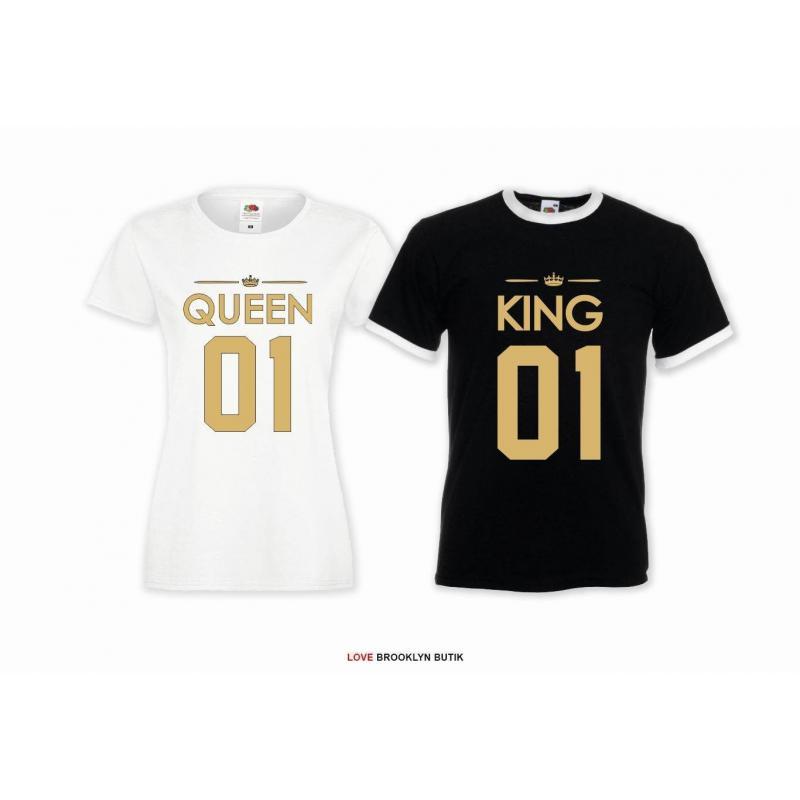 T-shirt DLA PAR 2 SZT QUEEN 01 & KING 01 napis z przodu LADY FIT DLA NIEJ & OVERSIZE DLA NIEGO