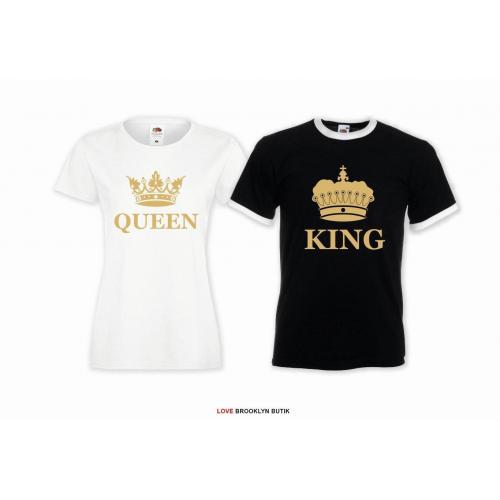 T-shirt DLA PAR 2 SZT QUEEN & KING CORONE napis z przodu LADY FIT DLA NIEJ & OVERSIZE DLA NIEGO