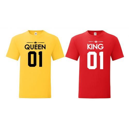 T-shirty dla par Queen 01 & King 01 żółty - czerwony 2 szt