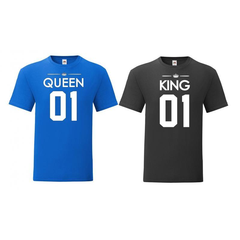 T-shirty dla par Queen 01 & King 01 niebieski - czarny 2 szt