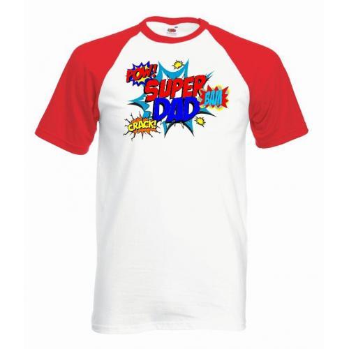 T-shirt baseball kolor super dad pow