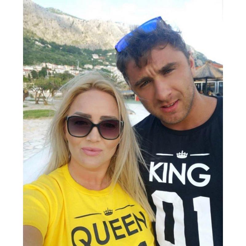 T-shirty dla par Queen 01 & King 01 żółty - czarny 2 szt