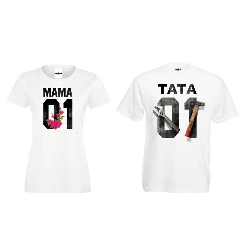 T-shirt dla par Queen & King przód 2 szt