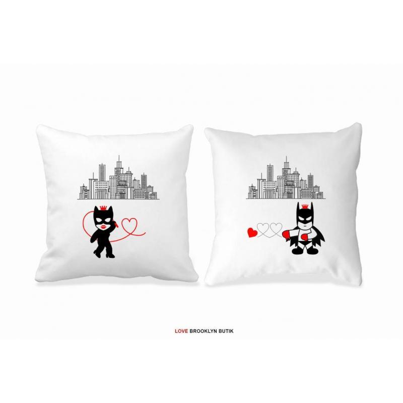 Poduszki druk dla par 2 szt. CATWOMAN & BATMAN